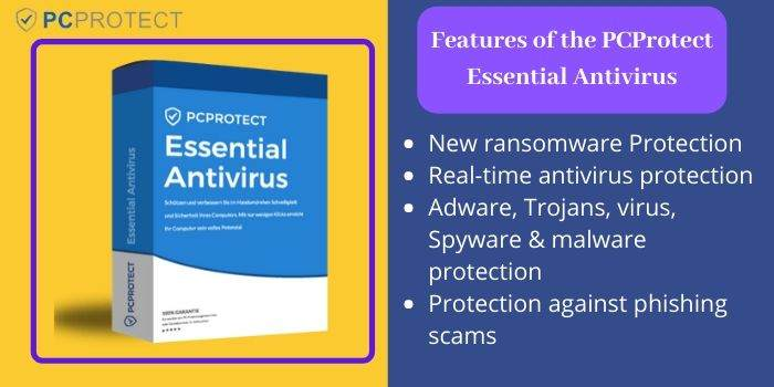 Features of the PCProtect Essential antivirus
