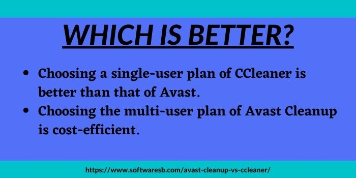 comparison between avast cleanup vs ccleaner
